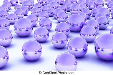 3D ball purple metal glass