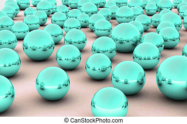 3D ball sea green metal reflection