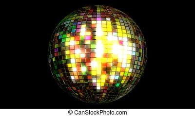 3d, balle, animation, disco