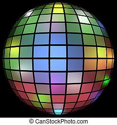 3d, balle, coloré, render, disco