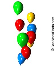 3d balloons - 3d rendered illustration of flying colorful...