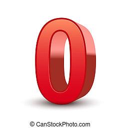 3d, baluginante, rosso, numero, 0