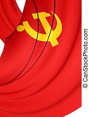 3d, bandera, de, chino, comunista, fiesta.