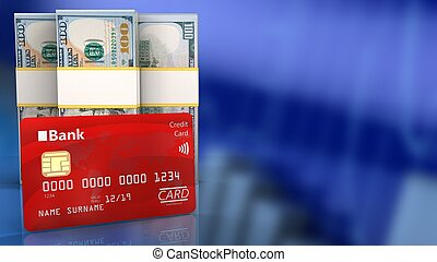 3d bank card - 3d illustration of dollar over blue graph...