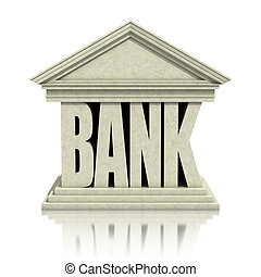 3d, bank, ikona