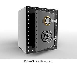 3d bank safe on  white background .concept