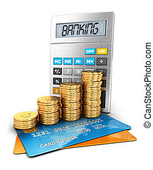 3d banking concept, isolated white background, 3d image