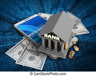 3d illustration of white phone over digital background with banknotes and bank