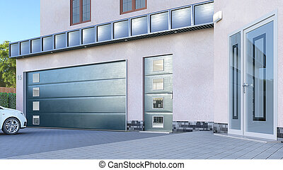 3d, bankstel, doors., illustratie, garage, ingang