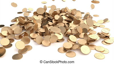 3d banner with gold coins fall on gold background. Cash ...