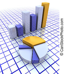 3D bar chart and pie chart - 3D render of a bar chart and a...