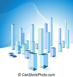 3D Bar Chart City Background