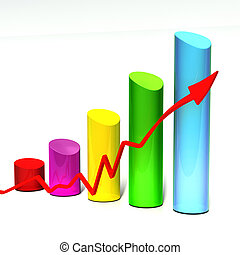 3D bar chart - colorful bar chart with red arrow isolated on...