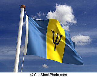 Barbados flag (with clipping path)