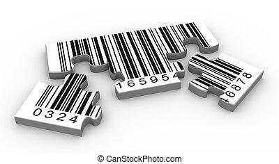 3d barcode puzzle - 3d render of bar code puzzle peaces