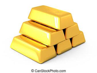 3d, barras ouro, e, moedas