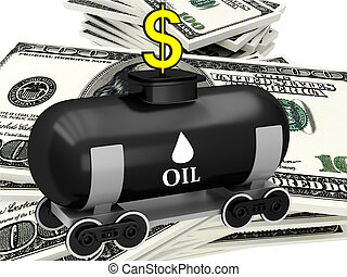 3D barrel of oil with dollars