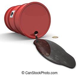 3D Barrel with spilled oil