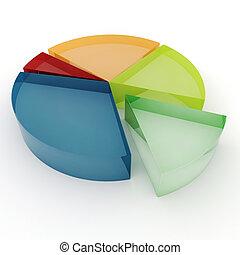 3d, barwny, handlowy, wykres, na białym, tło
