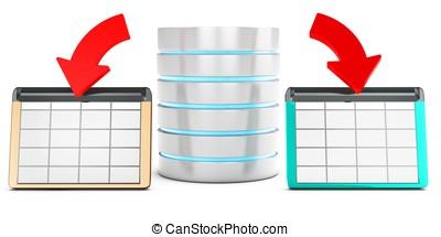 3d, base de datos, datos del ahorro, en, mesas