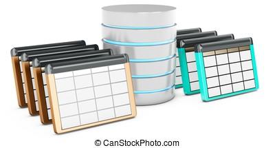 3d, base de datos, mesas