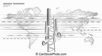 3d base station receiver. telecommunication tower 4g polygonal design global connection information transmitter. Mobile radio antenna cellular vector illustration