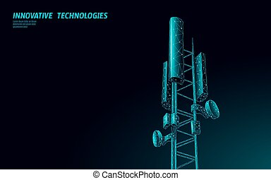 3d base station receiver. telecommunication tower 5g polygonal design global connection information transmitter. Mobile radio antenna cellular vector illustration