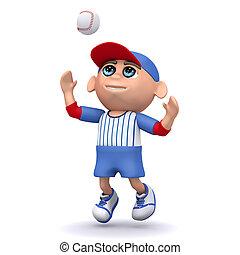 3d Baseball kid jumps to catch ball - 3d render of a kid ...
