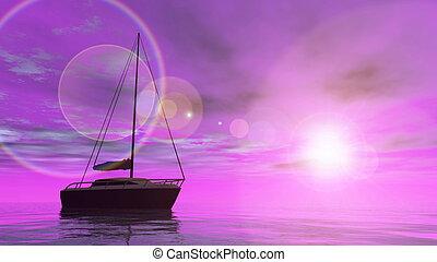 3d, -, bateau, render, voile