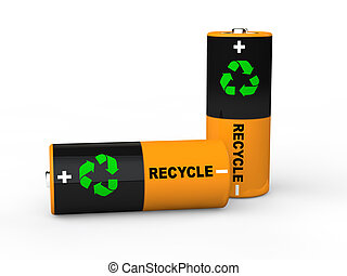 3d batteries with recycle symbol