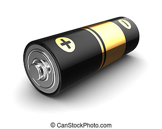 3d battery - 3d illustration of battery over white ...