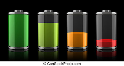 3d Battery icons with different charge levels on black...