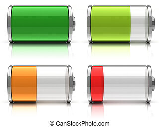 3d Battery icons with different charge levels on white...