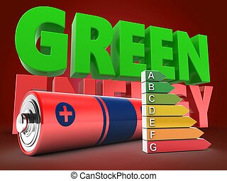 3d battery with green energy sign