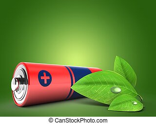 3d battery with green leaf