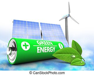 3d battery with solar and wind energy