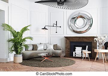 3d, beau, intérieur, render, appartement