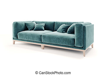 3d beautiful green sofa on white background