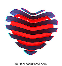 3d beautiful red glossy heart of the bands. 3D illustration. Anaglyph. View with red/cyan glasses to see in 3D.