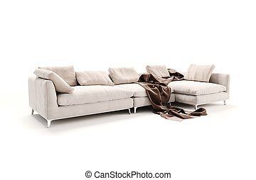 3d beautiful sofa on white background