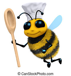 3d Bee chef with spoon - 3d render of a bee wearing a chefs...