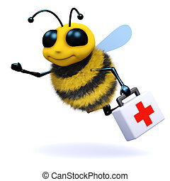 3d Bee first aid - 3d render of a bee carrying a first aid ...