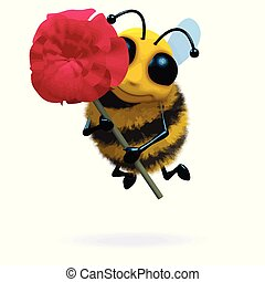 3d Bee holds a red rose