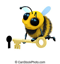 3d Bee keyhole - 3d render of a bee putting a key into a...