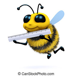 3d Bee measures up - 3d render of a honey bee using a ruler