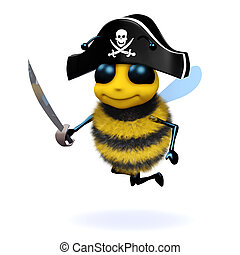 3d Bee pirate - 3d render of a bee dressed as a pirate