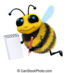 3d render of a bee with a notepad and pencil