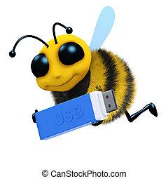 3d Bee USB - 3d render of a honey bee carrying a USB stick