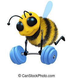 3d Bee weightlifter