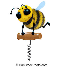 3d Bee with corkscrew